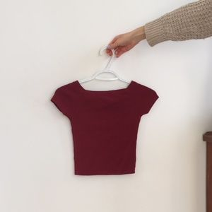 Red Off the Shoulder/Square Neck Crop Top